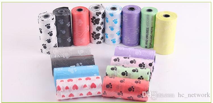 DHL 개 똥 가방 개 애완 동물 폐기물 똥 가방 15 강아지 가방 롤 임의의 색상 애완 동물 공급 무료 배송