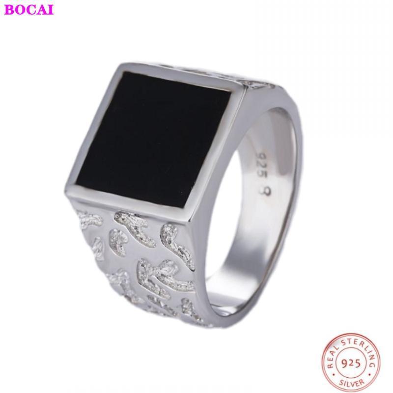 S925 argento sterling uomini puri anello degli uomini d'argento del quadrato fondo piatto a quadri anello di 2020 nuova moda popolare Thai