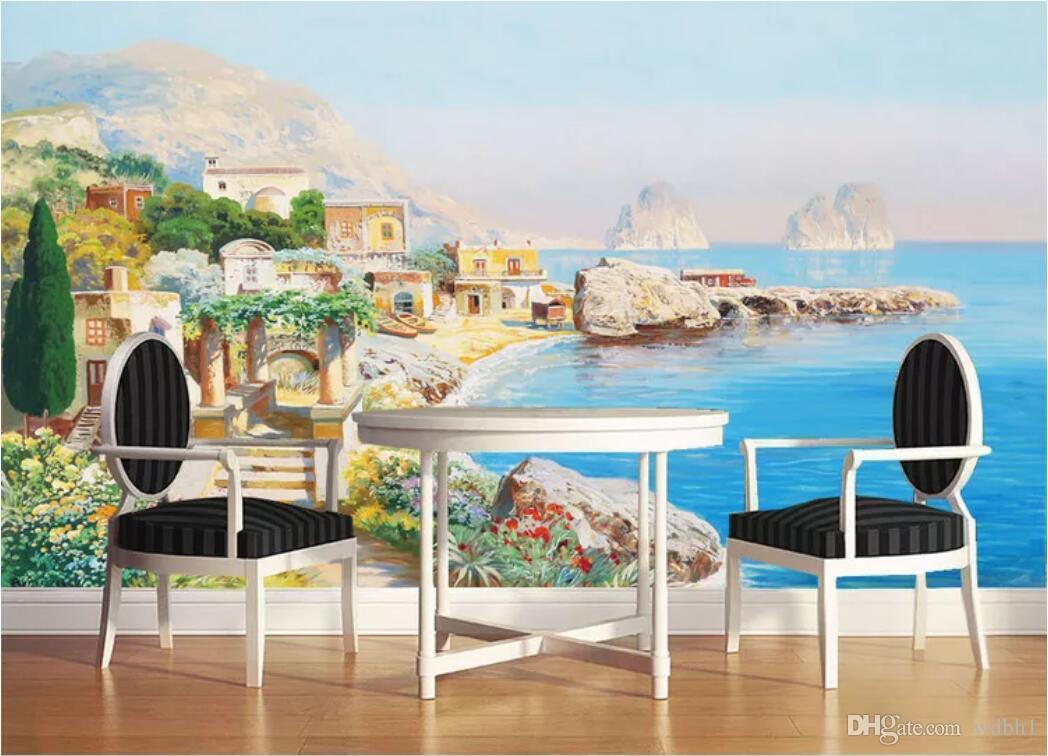 Photo de papier peint de la chambre 3d murale personnalisé océan méditerranéen Architecture européenne HD huile art peintures murales papier peint pour les murs 3 d