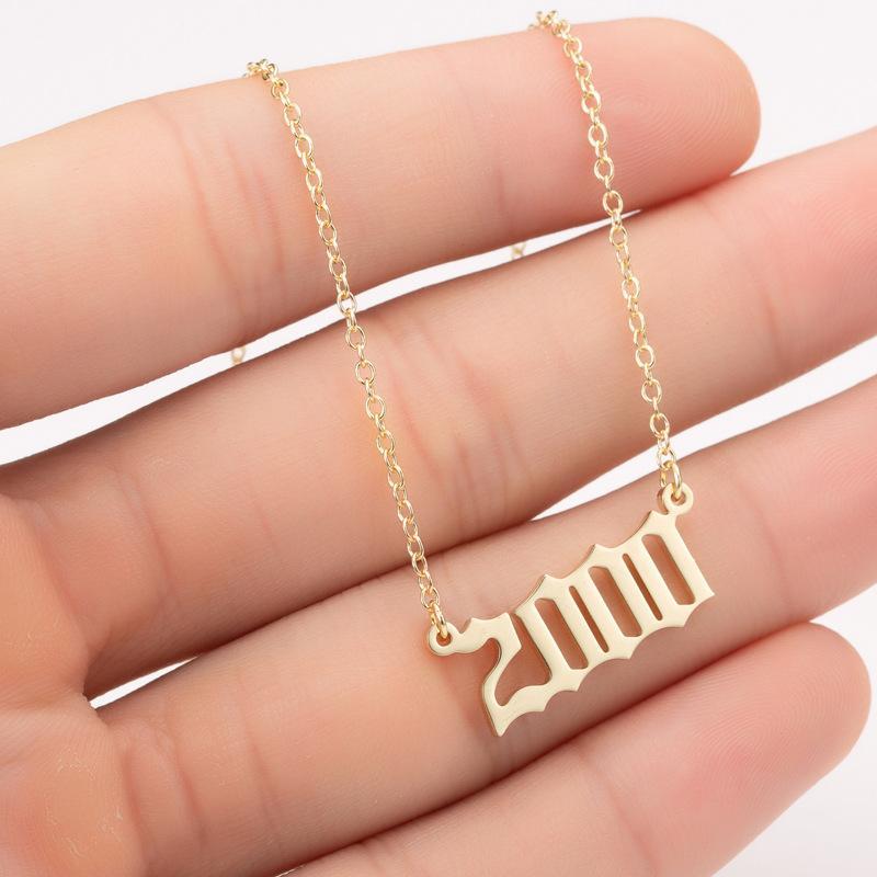 Годы рождения ожерелье, начальный год номер кулон ожерелье для женщин девочек девчонки подарок подарок на день рождения очарование дружба нержавеющая сталь ожерелье-Z