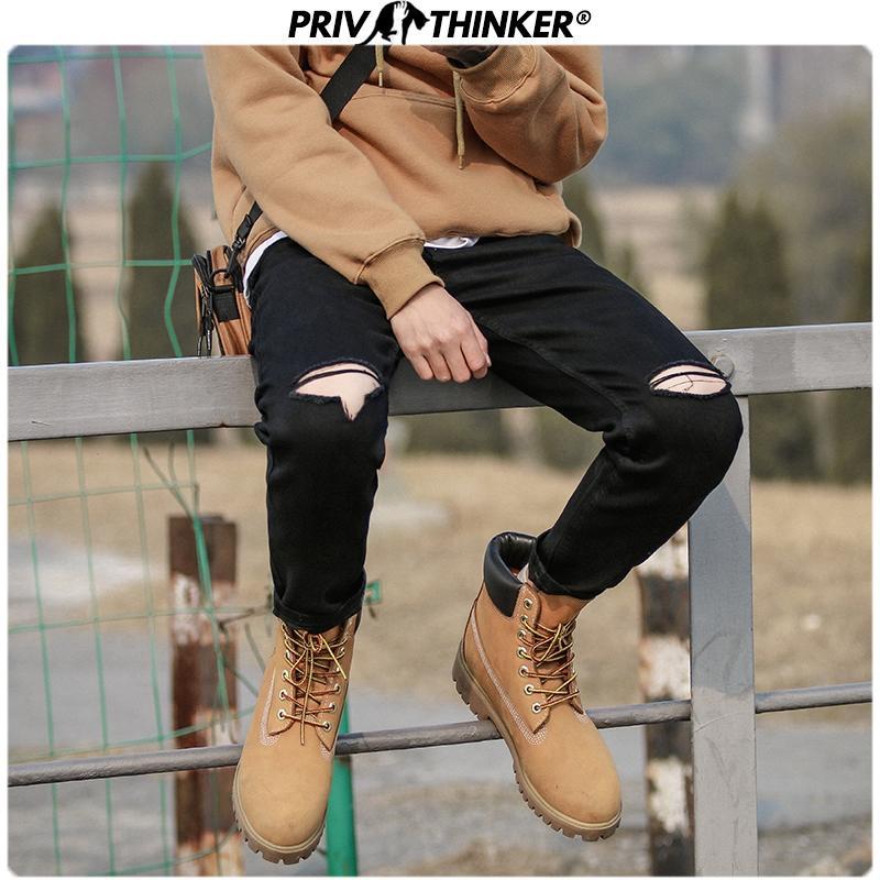 Men Black Casual Solid Slim Jeans Pants 2020 Mens Hip Hop Streetwear Hole Denim Pants Male Fashion Bottoms Jeans