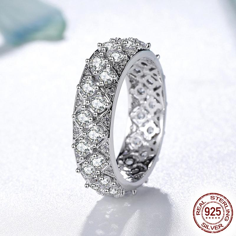 Luxury Fashion Lady Sparkling Full 5A Cubic Zirconia Engagement Ring 100% 925 Sterling Silver Wedding Jewelry Gift Box XR304