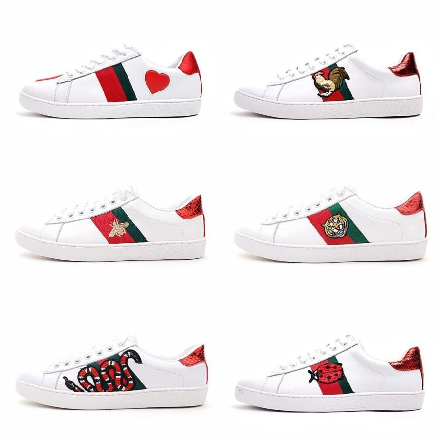 Mens designer luxury shoes Casual Shoes white mens women sneakers advanced material Bee flower snake heart love star Genuine Leather Zapatos