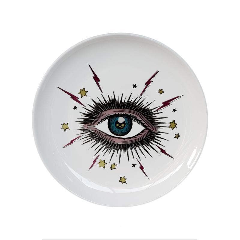 Placa de 8 pulgadas grande del ojo de cielo estrellado decorativo redondo de cerámica Plato de joyas de cabeza del gato de almacenamiento plato artístico cielo del ojo placa de moda colorido
