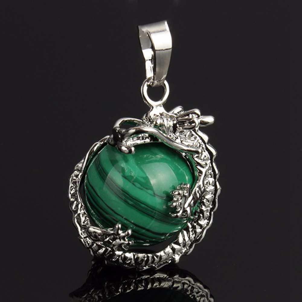 Kolye Gül Kristal Kuvars Kaplan Gözü Lapis Lazuli Yeşil Aventurin Muska Kadın Reiki Mücevherat İçin Doğal Taş Ejder Kolye