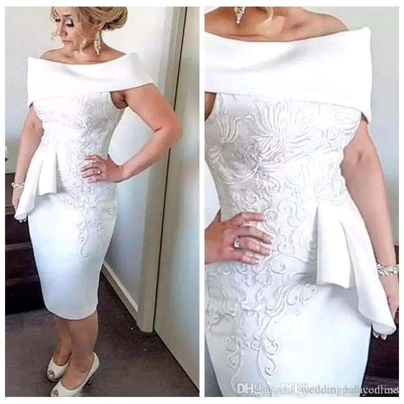 2019 Nueva moda vaina Vestidos para madre de la novia Fuera del hombro Aplique de encaje Hasta la rodilla Vestidos para madre de novio Por encargo