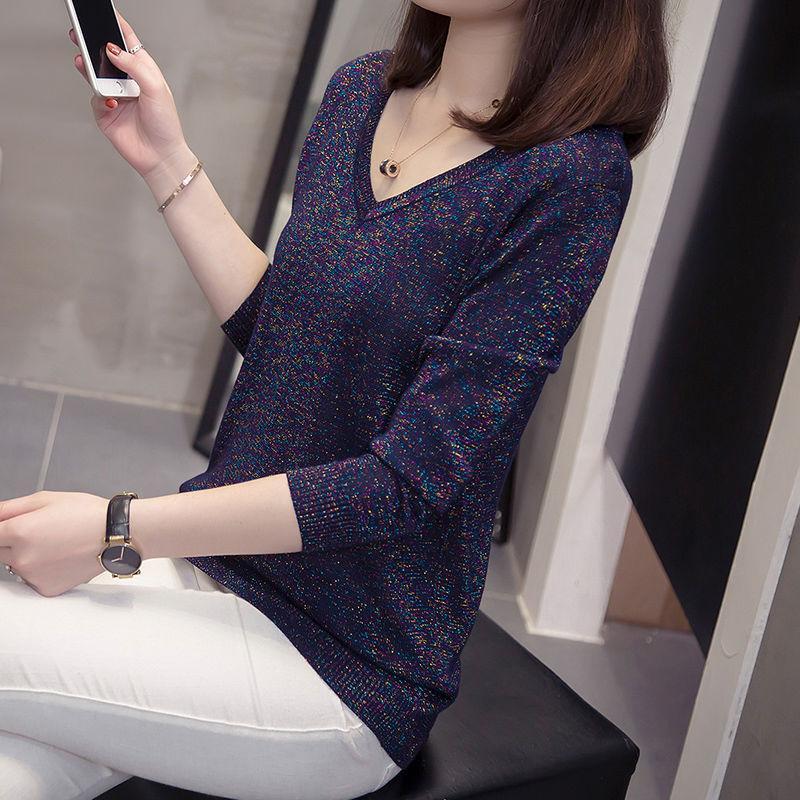 2020 Новая весна осень женщин среднего возраста Винтаж Dot Printed V шеи Вязаная Женский Свободный пуловер свитер Top Plus Размер 4XL Y484