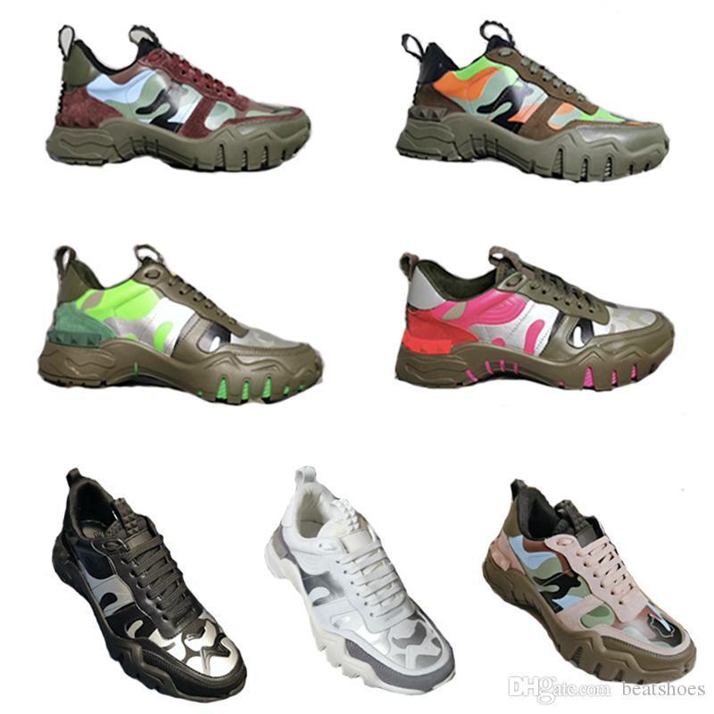 Plataforma de goma de los hombres diseñador de las mujeres zapatillas de deporte de la zapatilla de deporte camuflaje Rockrunner Escaladores Vintage Zapatos New Real corrientes de cuero Formadores papá Zapatos
