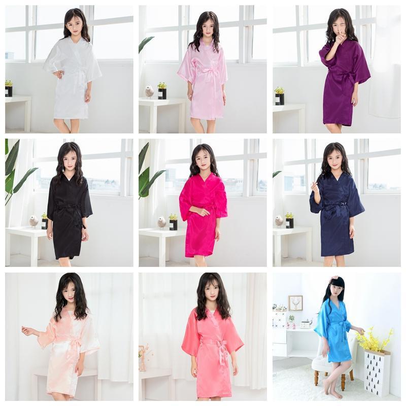 Bebé niños niñas verano trajes de niño de los bebés para niños sólidos del satén de seda del kimono del traje niñas Albornoz ropa de dormir ropa de casa