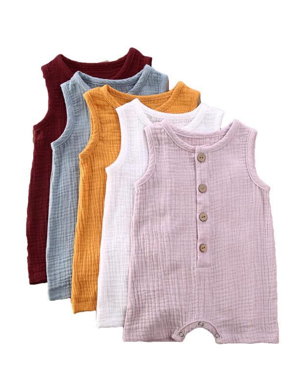 0-24 M Verano sólido infantil mamelucos recién nacido del muchacho del bebé traje de algodón Romper el mono Niños Ropa Sleevless Romper 5 colores