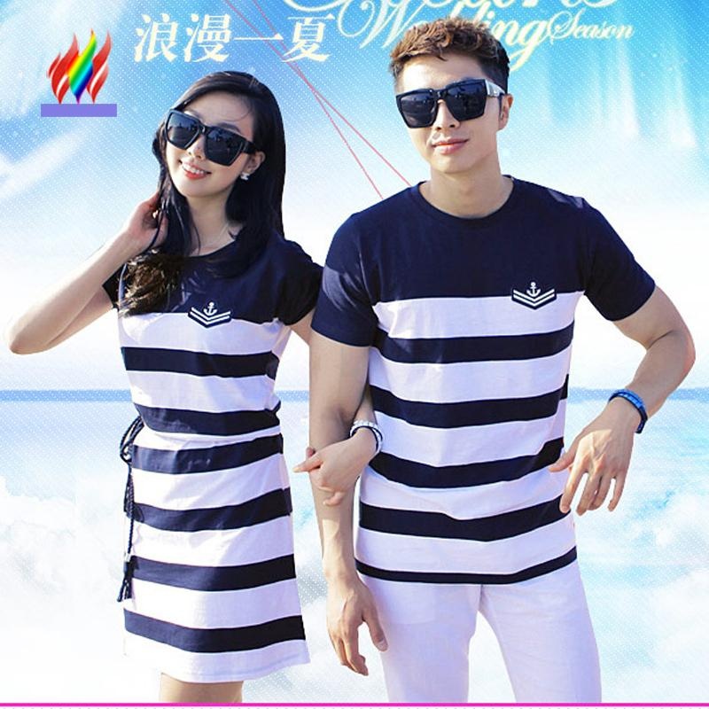 Couple T Shirt Matching Lovers Clothes Female Male Top Honeymoon Holiday Beach Valentine Wear Blue Stripe Cotton Couple T Shirts Y19060601 Funny T Shirts Shirt Design From Qiyuan05 14 22 Dhgate Com