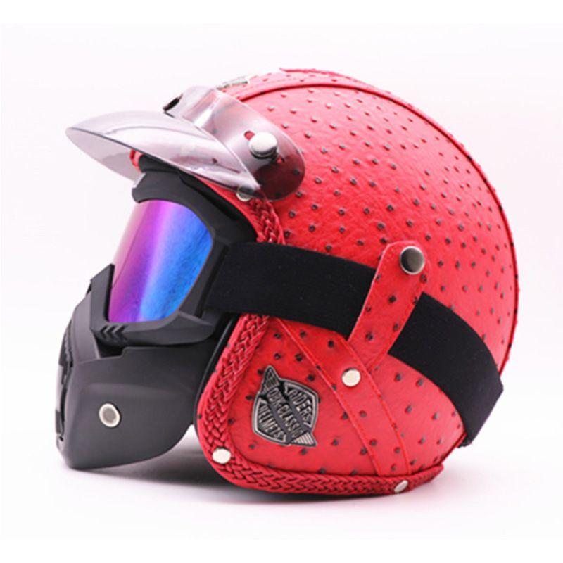2019 Ayaklı Yukarı Kask el yapımı Retro motosiklet kask tam yüz kask erkekler ve kadınlar kişilik lokomotif pedalı kruvazör Capacetes moto Maskesi
