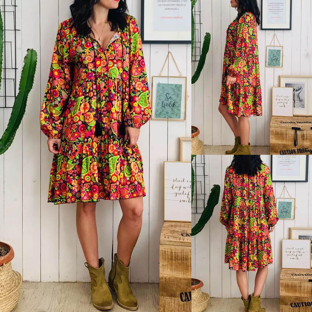 Women Ladies Loose Fashion Floral V-Neck Three Quarter Sleeve Mini Summer Dress