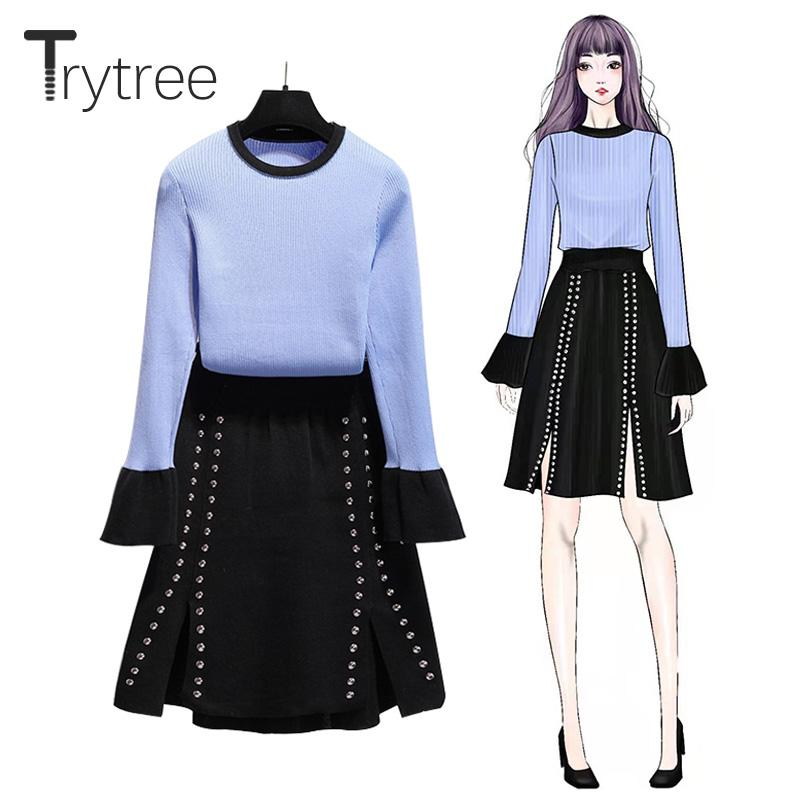 Set Piece Trytree Autunno Inverno casuale due lavorato a maglia del chiarore del manicotto top + skirt Rivet Spalato Hem Mini Office Lady Set 2 pezzi