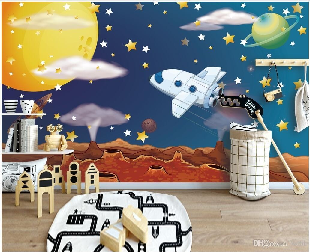 WDBH photo personnalisé 3d fond d'écran cosmique vivant fond étoilé vaisseau spatial dessin animé ciel chambre décoration 3d papier peint de muals mur pour les murs 3 d