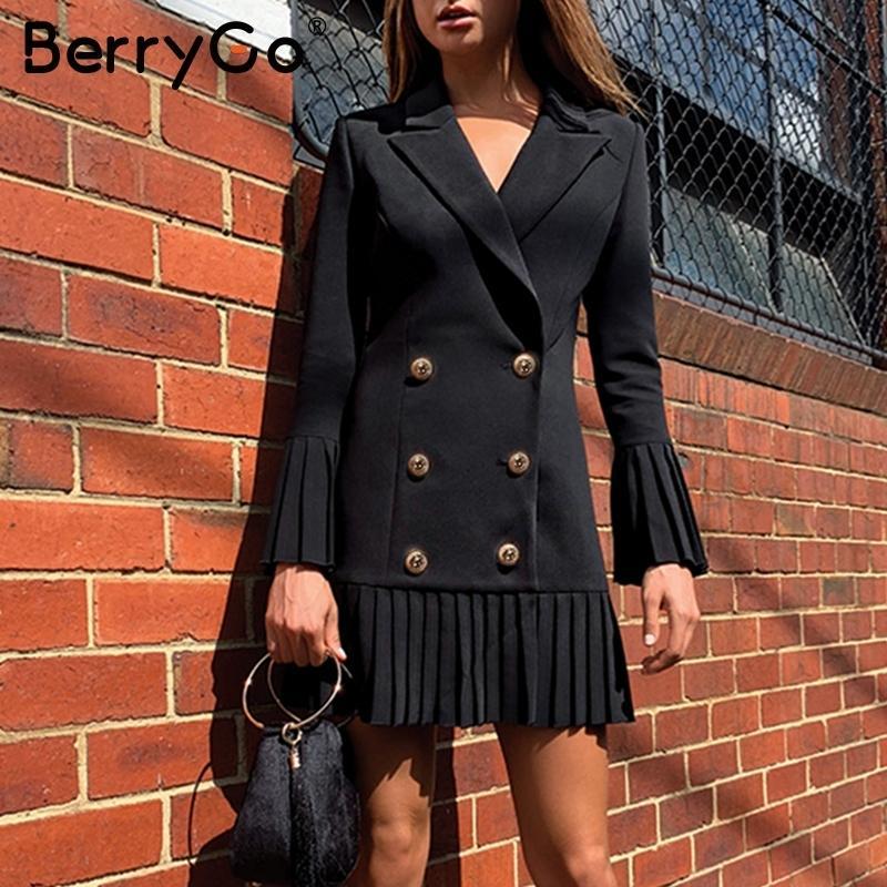BerryGo doble de pecho mujeres vestido de las señoras de oficina plisadas vestidos casuales de la chaqueta del invierno del otoño el juego delgado vestido blanco hembra 2019 T200403
