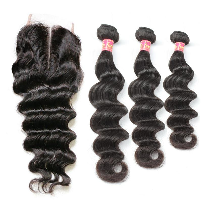 Bella Virgin Brazilian Hair Bundles with Closure Loose Deep Wave Wavy Human Hair Extensions Dyeable Black Hair Weft with Middle Part Closure