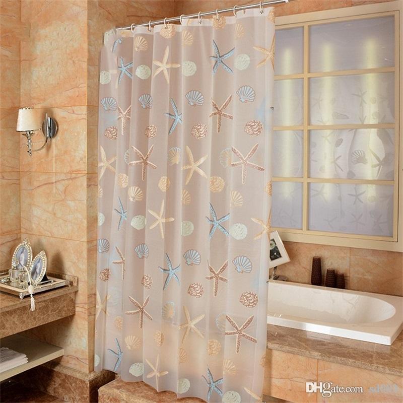 Étoile de mer Salle de bain Ensembles de rideau de douche Shell Mildiou Preuve WC Rideaux de fenêtre Abri étanche en tissu translucide vente chaude 14 8yj5b1
