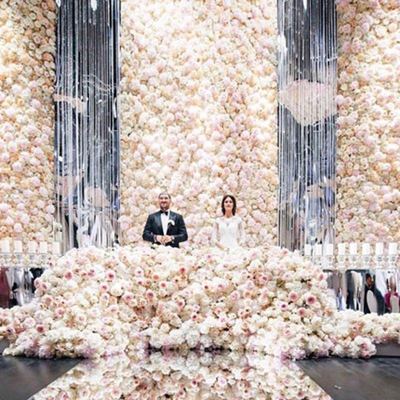 2019 Producto de venta caliente 40x60cm Rose de seda Flores artificiales de la boda de la decoración de la boda de la pared de la boda Fiesta de la boda Fondo de la decoración de fondo