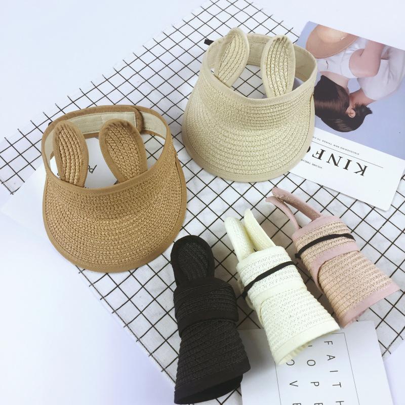 Children's rabbit ears empty top folding straw hat bear ears visor infant children beach hat sun hat girls