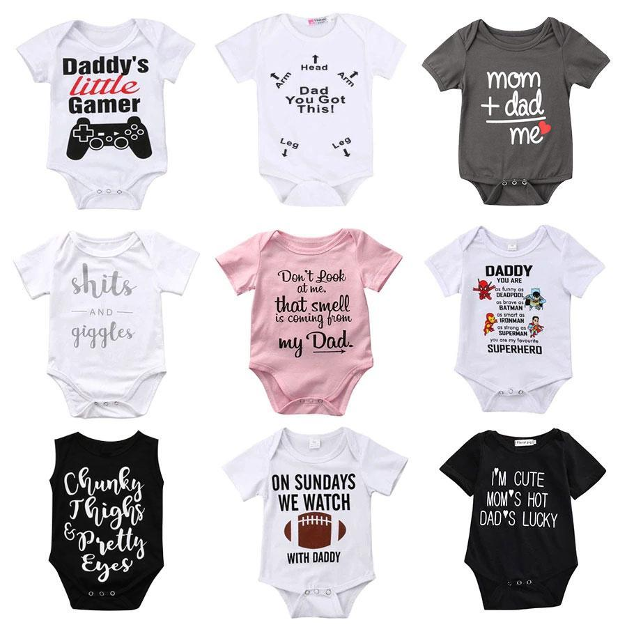 Dad is My Superman Newborn Infant Baby Girls Clothes Short Sleeve Romper Striped