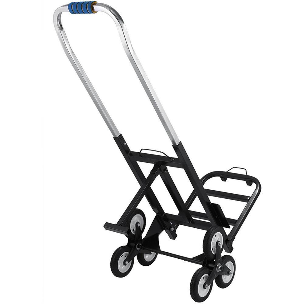 백업 바퀴로 조정 장바구니 등반 핸드 트럭 돌리 트롤리 접는 190KG 카본 스틸 휴대용 여섯 바퀴 계단 등반