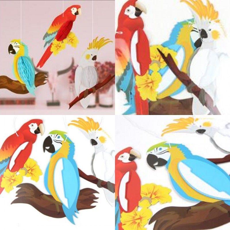 Papier Perroquet Suspendre Ornements Kid Chambres Perroquets Décoration Drop Ornement Enfant Arrangement de La Chambre Animal Pendentif Nouvelle Arrivée 10 8sma L1