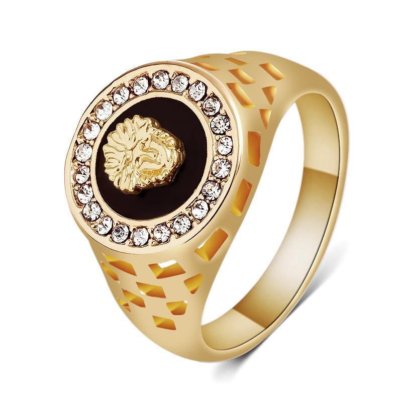 아주 새로운 남자의 금 반지 사자 머리 다이아몬드 반지 큰 미트볼은 및 금 색깔을 둥글게됩니다