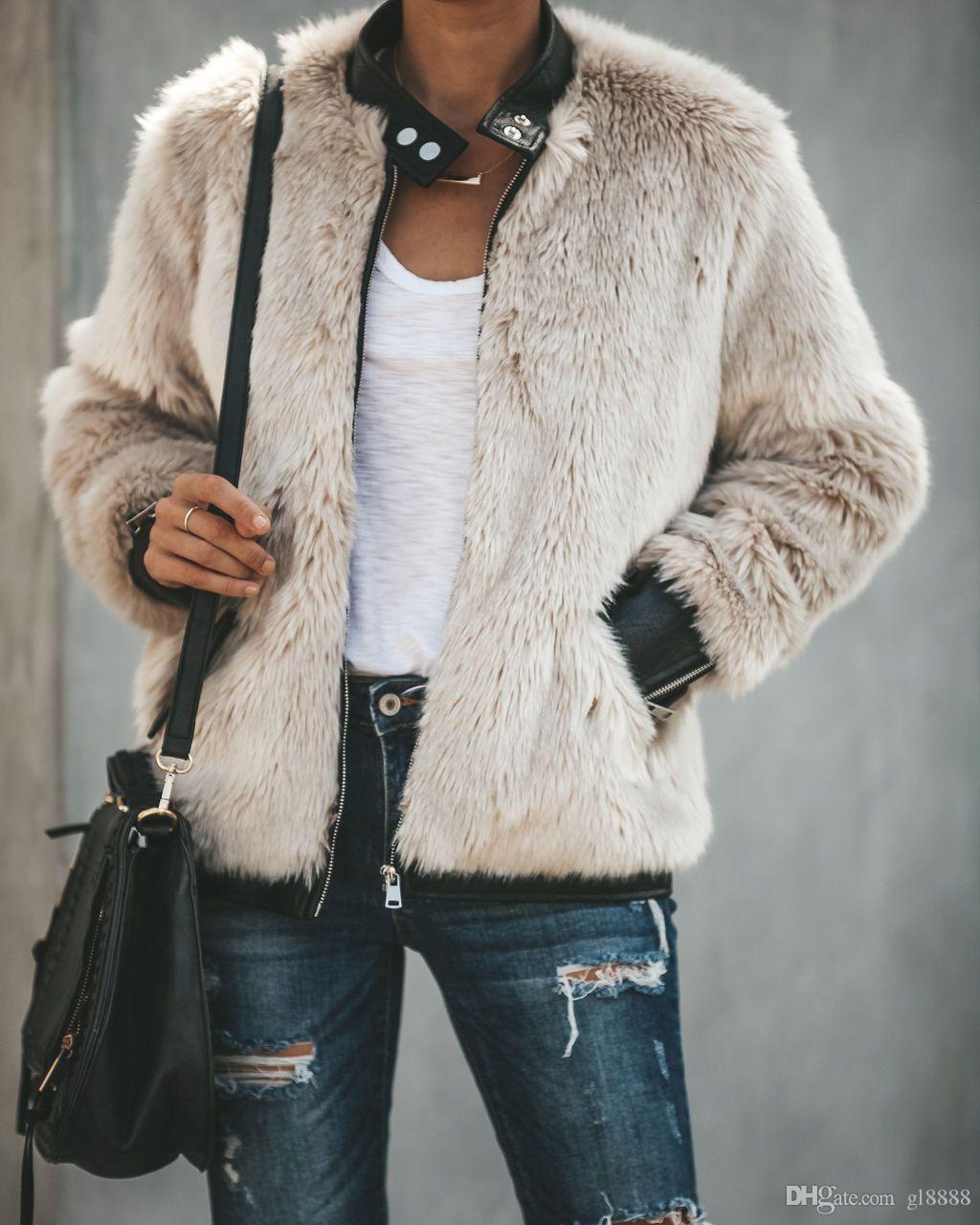 النساء الشتاء الطويلة الجيب الدافئة منفوش معطف الصوف سترات الفراء زمم ملابس خارجية