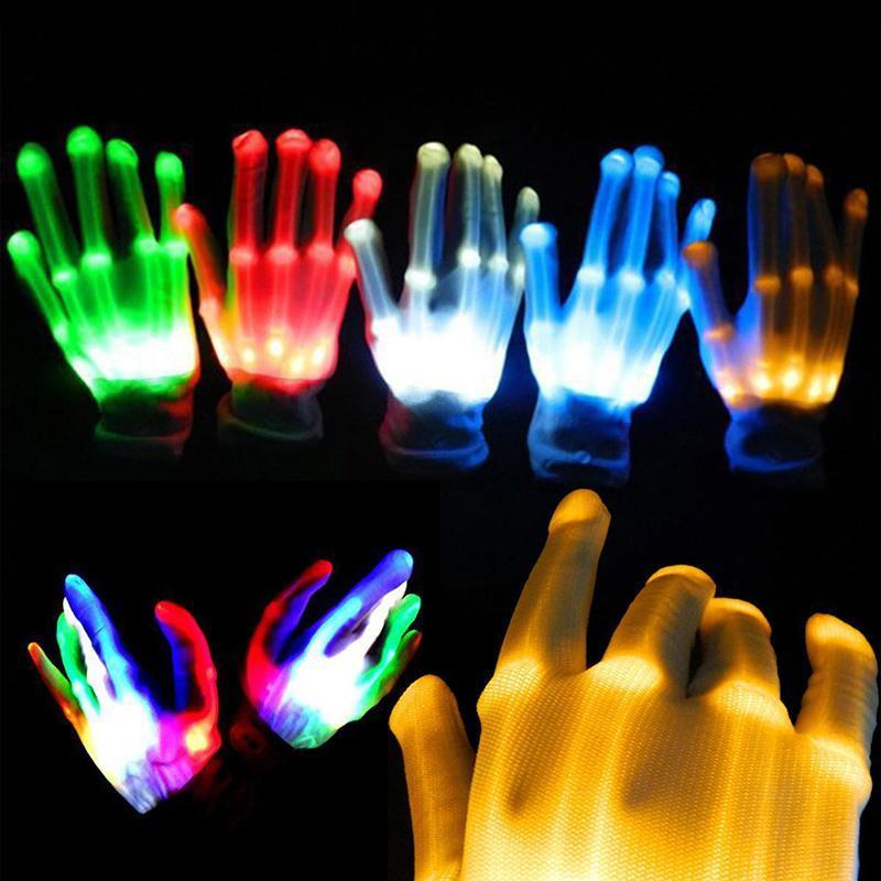 LED Rave Flashing Black Gloves Glow Light Up Finger Lighting Xmas Dance Party