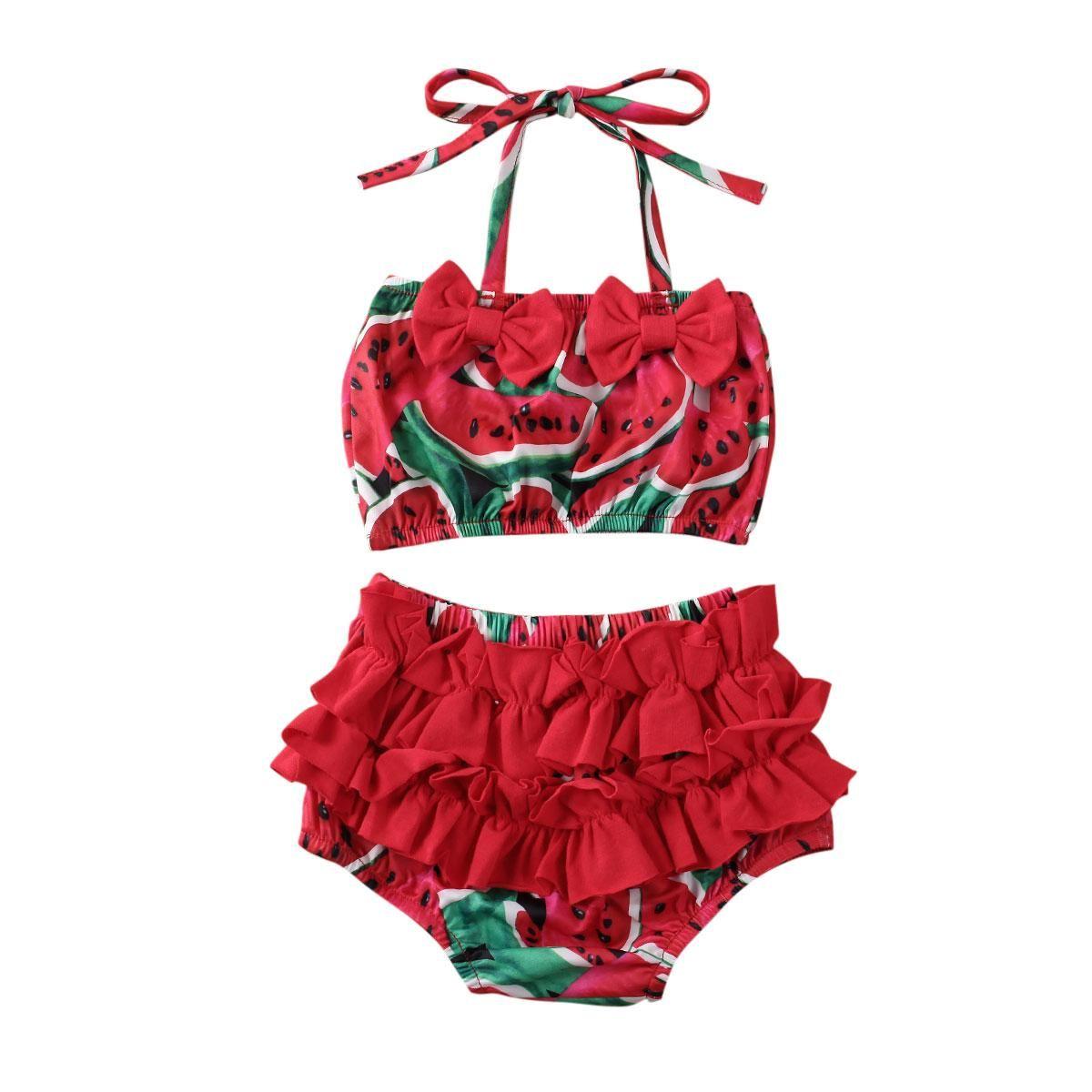 2PCS crianças Verão Baby Girl Ananás Melancia Imprimir Swimwear Crianças Crianças Bikini Set Ruffle bowknot Swimsuit Beachwear