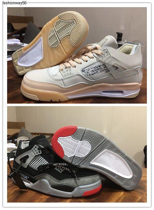 Off 2020 Hommes Femmes 4 4s SP WMNS Chaussures de basket Voile Blanc Noir Rouge Gris Designer Luxe Entraîneur soprts Sneaker Athletic