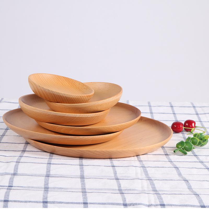 라운드 너도밤 나무 과일 플레이트 피자 요리 어린이 그릇 목재 호텔 트레이 컵 패드 디저트 플레이트 초밥 접시 요리 트레이 식기 DBC VF1610