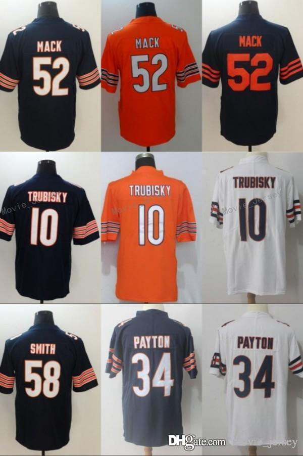 low cost c395d 689bc 2019 52 Khalil Mack Jersey Chicago 58 Roquan Smith 10 Mitchell Trubisky 34  Walter Payton Bears Football Jersey Men Women Youth Navy Orange Black From  ...