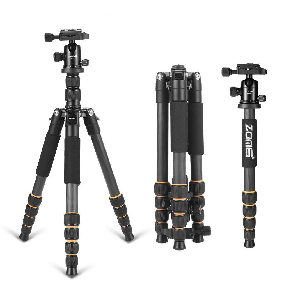 Q666C profissional de fibra de carbono de viagem portátil tripé cabeça MonopodBall para DSLR SLR T191025 câmera digital