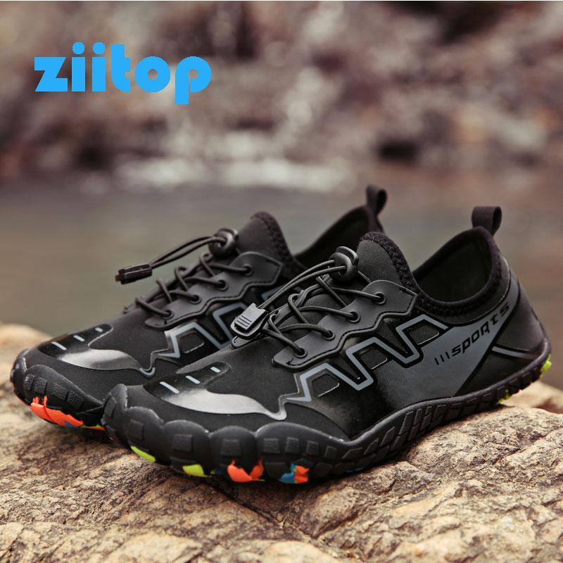 Chaussures d'été eau Hommes sandales de plage en amont Aqua Chaussures Wome rapide Dry River Chaussons unisexe plongée sous-marine Natation Chaussettes Tenis