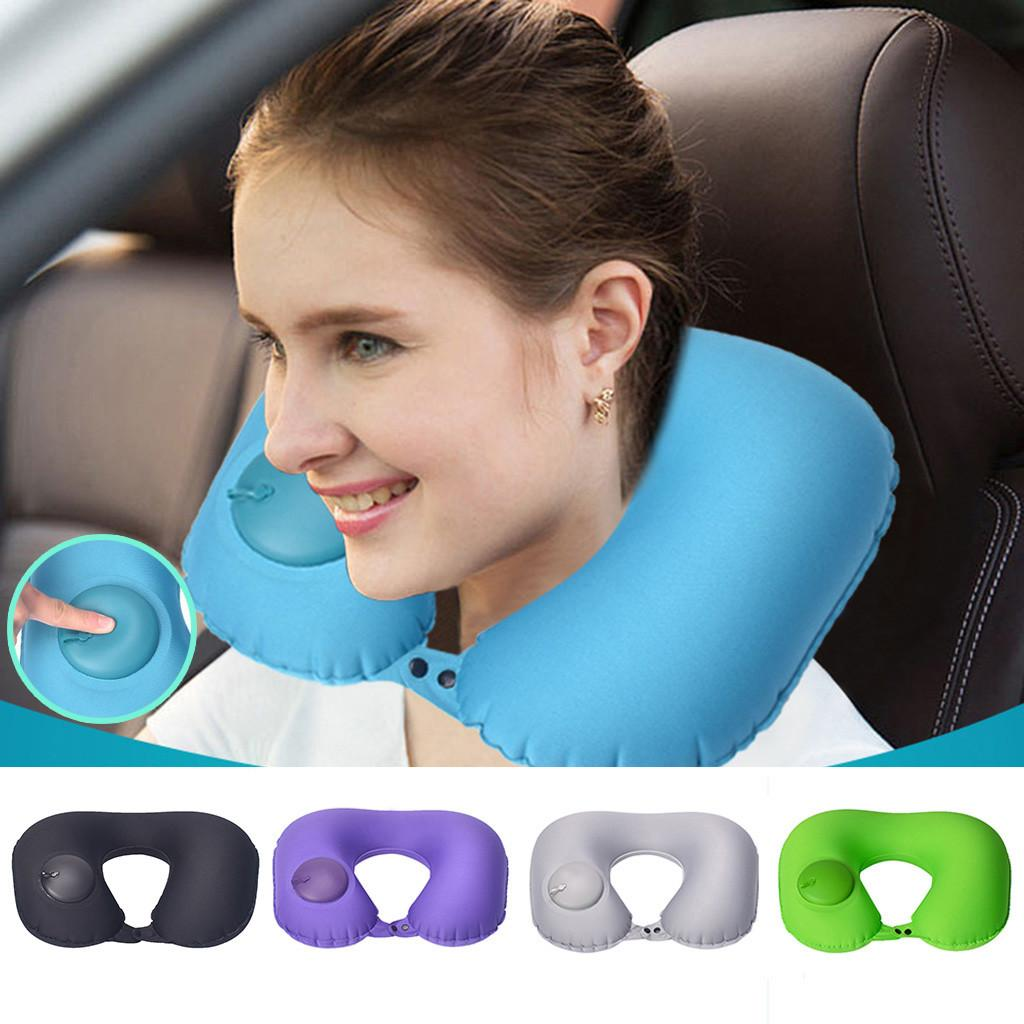 Foldable U-shaped Neck Support Pillow Inflatable Cushion Travel Air Plane Sleep
