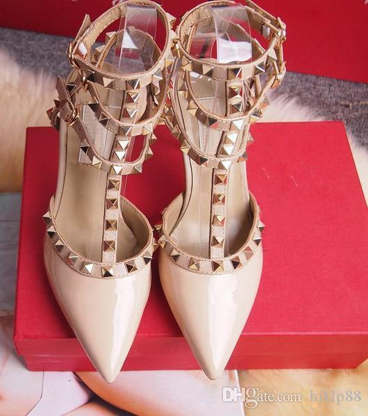 Zapatos de vestir de tacones altos de las mujeres Fiesta de moda Remaches Chicas Sexy Punta estrecha Zapatos Hebilla Plataforma Bombas Zapatos de boda Negro Blanco Color rosa