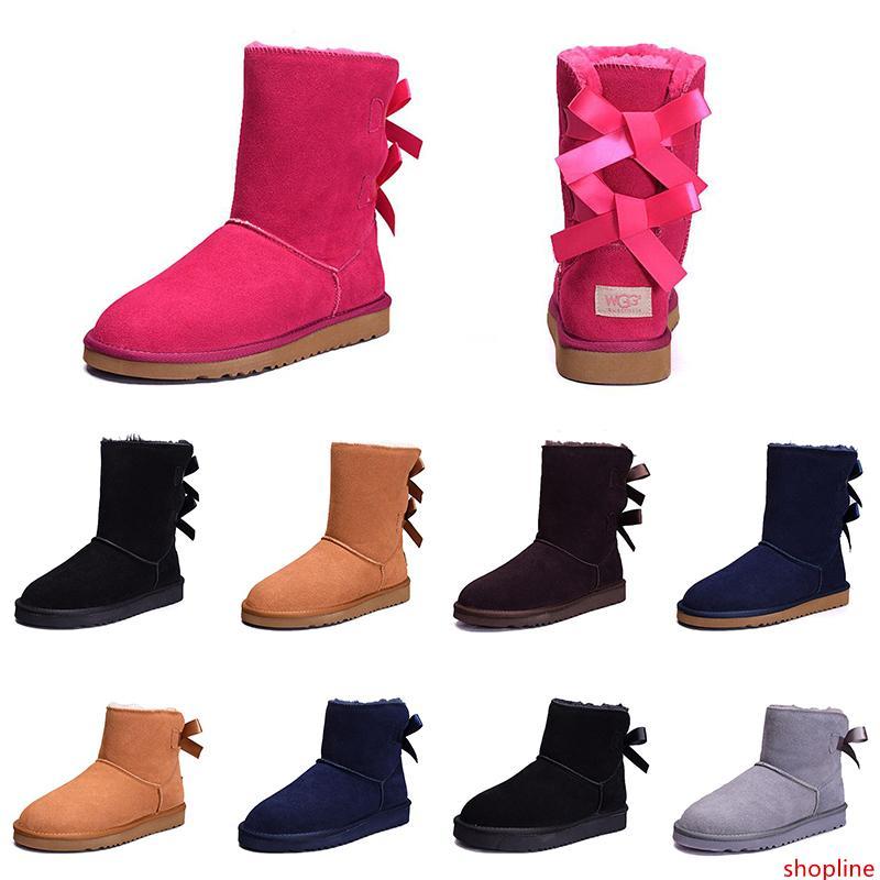 Cheap Donne Inverno Snow Boots Moda: Australia Classic Mezza arco corto stivali al ginocchio caviglia Bowknot ragazza signora Rosa, Rosso, Grigio Boot 36-41