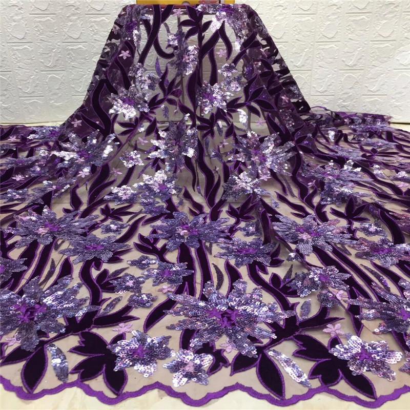 Prata 2020 roxo Últimas Africano Lace tecido de alta qualidade Sequins macia de veludo stretch Lace nigeriano Lace Fabric para o casamento Sew