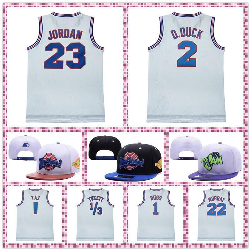 Tune Squad Jersey Jersey Space Jack Cap! Taz 1 Bugs 2 D.Duck Tweety 10 Lola 22 Murray Cappello da basket