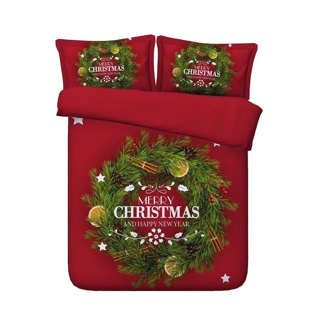 Árbol de navidad verde roja cubierta del Duvet de Santa Claus Elks Deer 3 Piezas 2 ropa de cama con almohada Shams regalos para el niño niños