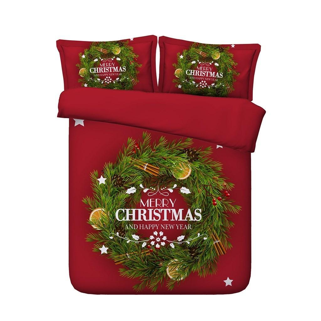 Rosso Verde Albero di Natale copripiumino Babbo Natale Alci Deer 3 Pezzi Bedding Con 2 Gifts falsità del cuscino per i capretti Boy
