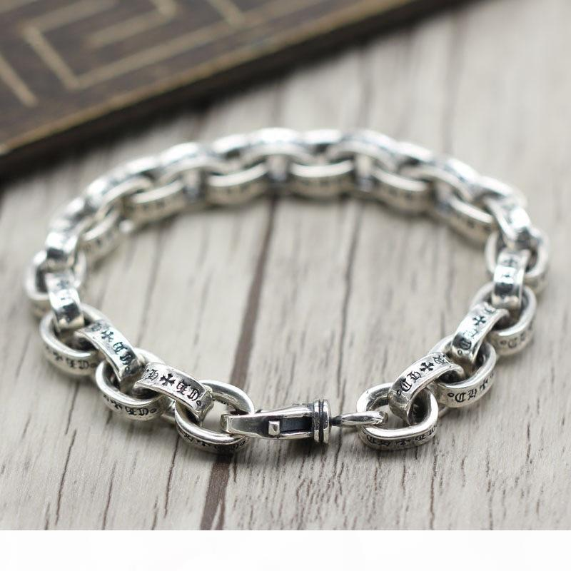 Retro Chains Men's Bracelets 925 Sterling Silver Bracelet Thai Silver Jewelry Rough Punk Style Personality Simple Female
