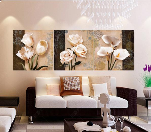 Orchid,3 Pieces Canvas Prints Wall Art Oil Painting Home Decor (Unframed/Framed) .