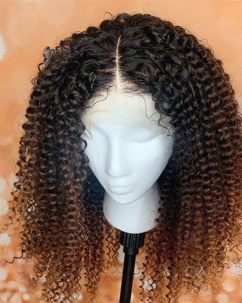 1b 30 Ombre afro rizado rizado HD del frente del cordón preplucked upart cierre de cordones de Brasil Remy humano corto y rizado pelucas de pelo 150% natural