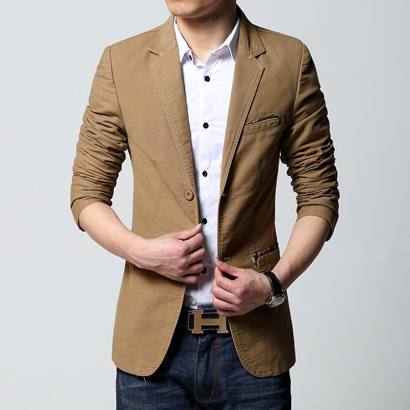 Mens veste décontractée et une veste nouveau style de la mode coréenne 2018 kaki brun noir slim fit veste mens vente chaude