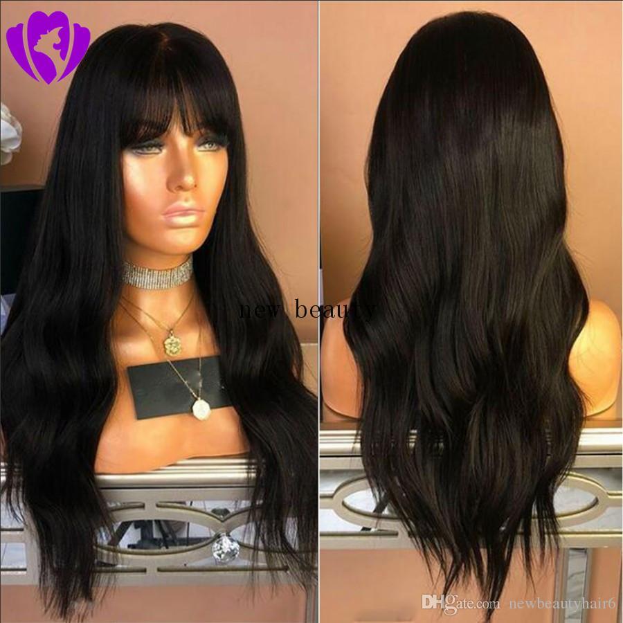 corpo freeshipping onda peruca longa e cheia preto / louro simulação peruca cheia do cabelo / Brazilain humano marrom / vermelho com franja para as mulheres negras