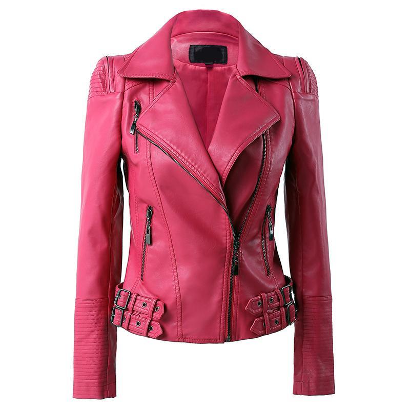 Frauen PU-Lederjacke Frühling lange Hülsen-dünner Kurzschluss-Mantel-Damen schickes rosa Blau Schwarz Motorradjacke Windjacke Overcoat