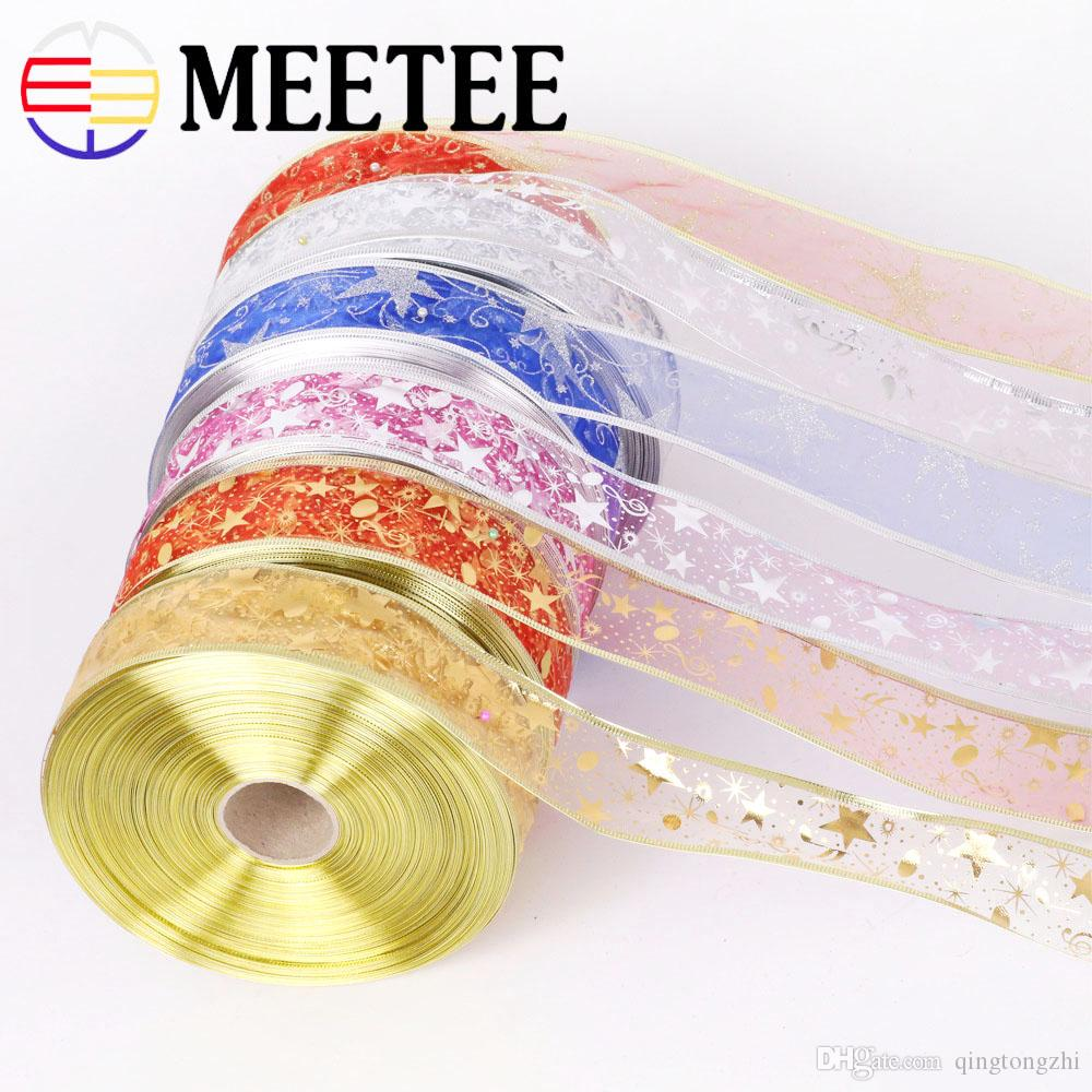 Meetee 5cm Bling Star Printed Organza Christmas Gift Package Ribbon DIY Holiday Home Decoration Webbing Craft Sewing Accessory BD449